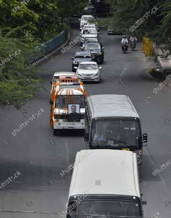 The mortal remains of veteran Congress leader Pranab Mukherjee are taken to the Lodhi Road crematorium on September 1, 2020 in New Delhi, India.