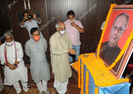 Editorial image of BJP Leaders Pay Respect To Former President Pranab Mukherjee After His Death At Patna BJP Office, Bihar, India - 01 Sep 2020