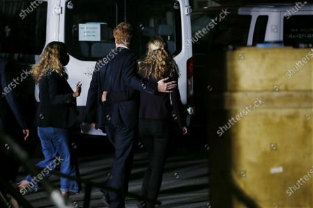 Democratic candidate for United States Senate, Representative Joe Kennedy III (C) and his wife Lauren (R) depart speaks at his campaign headquarters after conceding in Watertown, Massachusetts, USA, 01 September 2020.