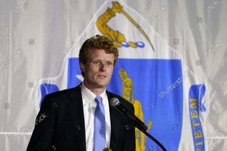 Rep. Joe Kennedy III speaks outside his campaign headquarters in Watertown, Mass., after conceding defeat to incumbent U.S. Sen. Edward Markey, in the Massachusetts Democratic Senate primary