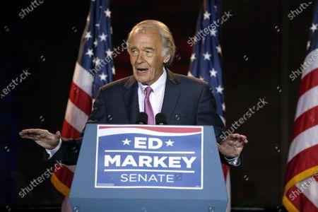 Incumbent U.S. Sen. Edward Markey speaks, in Malden, Mass., after defeating U.S. Rep. Joe Kennedy III in the Massachusetts Democratic Senate primary