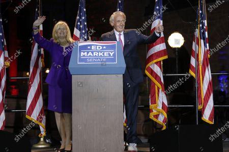 Incumbent U.S. Sen. Edward Markey and wife Susan, left, celebrate in Malden, Mass., after defeating U.S. Rep. Joe Kennedy III, in the Massachusetts Democratic Senate primary