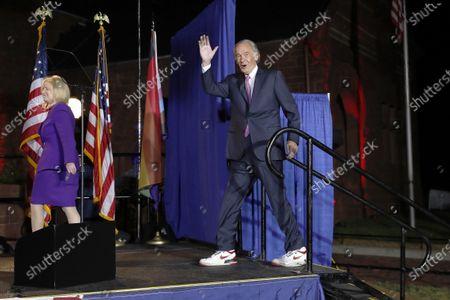 Incumbent U.S. Sen. Edward Markey arrives with his wife Susan, left to speak in Malden, Mass., after defeating U.S. Rep. Joe Kennedy III, in the Massachusetts Democratic Senate primary