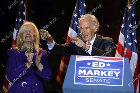 Incumbent U.S. Sen. Edward Markey celebrates with wife Susan, left, in Malden, Mass., after defeating U.S. Rep. Joe Kennedy III, in the Massachusetts Democratic Senate primary