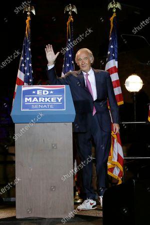 Incumbent U.S. Sen. Edward Markey celebrates in Malden, Mass., after defeating U.S. Rep. Joe Kennedy III, in the Massachusetts Democratic Senate primary