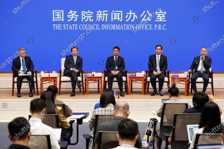 (2-L to R) Ning Gaoning, Chairman of Sinochem Group, Liu Yonghao, founder and Chairman of New Hope Group, Zhou Yuxian, Chairman of China National Building Materials Group Corporation and Yan Zhi, Chairman of Wuhan Zall Development Holding Co. Ltd. attend a press conference held by the State Council Information Office with the theme of promoting entrepreneurship in Beijing, China, 02 September 2020.