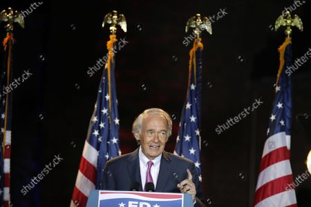 Stock Photo of Incumbent U.S. Sen. Edward Markey speaks, in Malden, Mass., after defeating U.S. Rep. Joe Kennedy III in the Massachusetts Democratic Senate primary