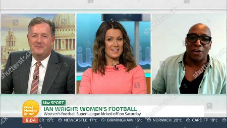 Stock Image of Piers Morgan, Susanna Reid and Ian Wright