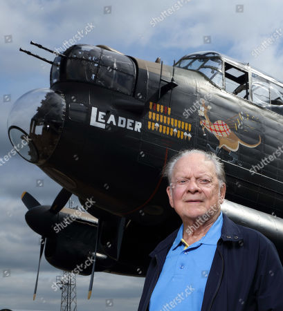 David Jason with a Lancaster from the RAF Battle of Britain Memorial Flight heritage collection held at RAF Coningsby.