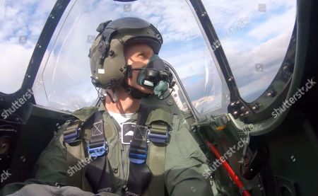 Cockpit view of Flight Lieutenant Andy Preece in the World War 2 Spitfire from the Battle of Britain Memorial Flight.