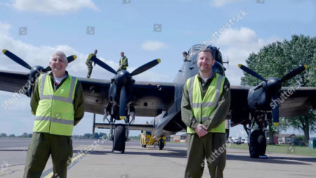"""(l-r) Lancaster ground crew engineers Cpl Norman Pringle and Sgt Mathew """"mazza"""" Marriot."""