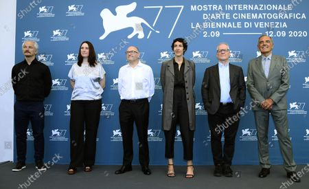 European Festival directors  Jose Luis Rebordinos (San Sebastian International Film Festival, Karel Och (Karlovy Vary International Film Festival), Vanja Kaludjercic (International Film Festival Rotterdam), Lili Hinstin (Locarno Film Festival), Thierry Fremaux (Festival de Cannes) and Alberto Barbera (Venice Film Festival) pose during a photocall at the 77th annual Venice International Film Festival, in Venice, Italy, 02 September 2020. The event is the first major in-person film fest to be held in the wake of the Covid-19 coronavirus pandemic. Attendees have to follow strict safety measures like mandatory face masks indoors, temperature scanners, and socially distanced screenings to reduce the risk of infection. The public is barred from the red carpet, and big stars are expected to be largely absent this year. The 77th edition of the festival runs from 02 to 12 September 2020.