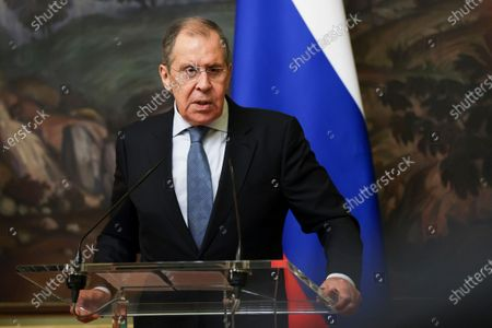 Stock Photo of In this handout photo released by Russian Foreign Ministry Press Service, Russian Foreign Minister Sergey Lavrov speaks during a joint news conference with Belarus Foreign Minister Vladimir Makei, following their talks in Moscow, Russia, . Makei thanked Russia for its support of the Belarusian government amid protests