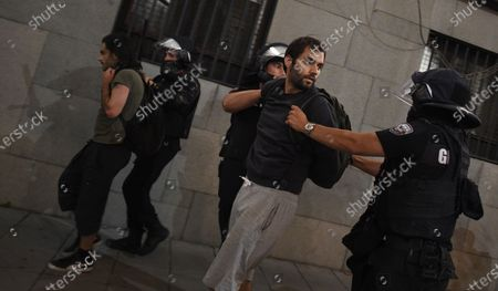 Gendarmes arrest a protester during an anti-government protest held in front of the Parliament building in Sofia, Bulgaria, 02 September 2020. Hundreds of demonstrators once again gathered in the capital's downtown area to demand the resignation of Prime Minister Boyko Borisov and his government.