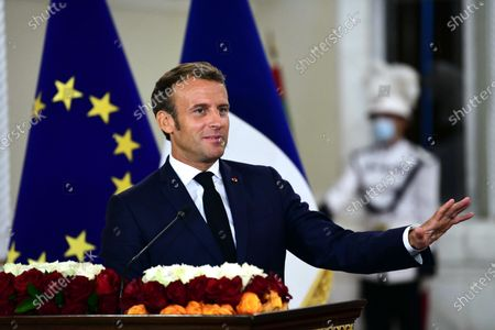 French President Emmanuel Macron during a press conference with Iraqi President Barham Salih (unseen) at the presidential palace in Baghdad, Iraq, 02 September 2020. Macron arrived in Iraq's capital city Baghdad on his first official visit to the country.