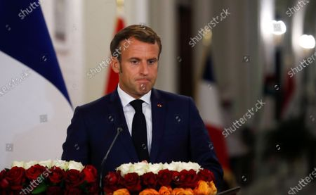French President Emmanuel Macron during a news conference with Iraq's President Barham Salihat (not pictured) at the Salam Palace in Baghdad, Iraq, 02 September 2020.