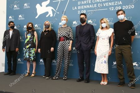 Members of the jury, Nicola Lagioia from left, Joanna Hogg, Veronika Franz, Cate Blanchett, Matt Dillon, Ludivine Sagnier and Christian Petzold pose for photographers at the jury photo call during the 77th edition of the Venice Film Festival in Venice, Italy