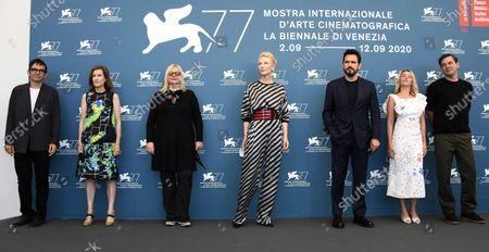 Members of the 'Venezia 77' jury  Nicola Lagioia, Joanna Hogg, Veronika Franz, Cate Blanchett, Matt Dillon, Ludivine Sagnier and Christian Petzold pose during a photocall at the 77th annual Venice International Film Festival, in Venice, Italy, 02 September 2020. The event is the first major in-person film fest to be held in the wake of the Covid-19 coronavirus pandemic. Attendees have to follow strict safety measures like mandatory face masks indoors, temperature scanners, and socially distanced screenings to reduce the risk of infection. The public is barred from the red carpet, and big stars are expected to be largely absent this year. The 77th edition of the festival runs from 02 to 12 September 2020.