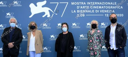 Members of Venezia of 'Orizzonti' section Jury  Katriel Schory, Francesca Comencini, Christine Vachon, Claire Denis and Oskar Alegria, wearing a protective mask pose during the 77th annual Venice International Film Festival, in Venice, Italy, 02 September 2020. The event is the first major in-person film fest to be held in the wake of the Covid-19 coronavirus pandemic. Attendees have to follow strict safety measures like mandatory face masks indoors, temperature scanners, and socially distanced screenings to reduce the risk of infection. The public is barred from the red carpet, and big stars are expected to be largely absent this year. The 77th edition of the festival runs from 02 to 12 September 2020.
