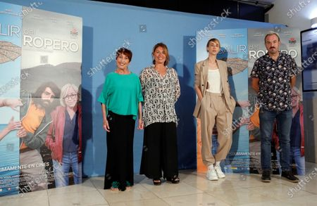 Stock Picture of Spanish cast actors Alex O´Dogherty (R), Veronica Forque (L), film director Angeles Reine (2-L), and actress Ingrid Garcia-Jonsson (2-R) pose during the presentation of the film 'Coming out of the Closet' in Madrid, Spain, 02 September 2020.