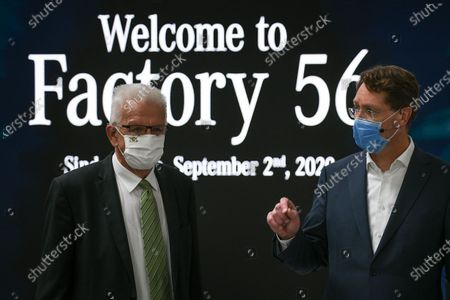 (L-R) Baden-Wuerttemberg's State Prime Minister Winfried Kretschmann (L) and Mercedes Benz CEO Ola Kaellenius speak during a press event for the opening of the Factory 56 production line in Sindelfingen, Germany, 02 September 2020. The German car manufacturer's newly built production complex for the new S-class covers an area of roughly 30 soccer fields. According to the company, it operates carbon neutral and fully digitalized.