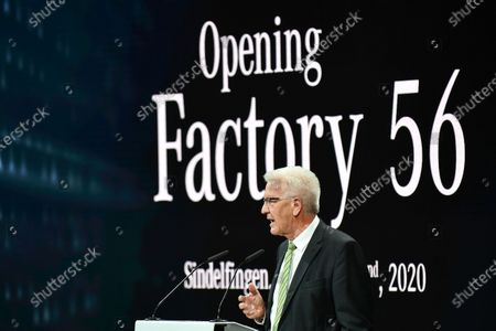 Baden-Wuerttemberg's State Prime Minister Winfried Kretschmann speaks during a press event for the opening of the Factory 56 production line in Sindelfingen, Germany, 02 September 2020. The German car manufacturer's newly built production complex for the new S-class covers an area of roughly 30 soccer fields. According to the company, it operates carbon neutral and fully digitalized.