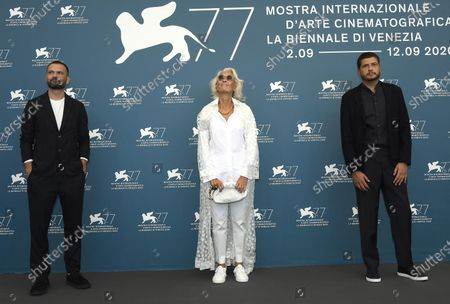 Members of Venezia Opera Prima ''Luigi De  Laurentiis'' Jury  Remi Bonhomme, Dora Bouchoucha and Claudio Giovannesi, pose  during a photocall at 77th annual Venice International Film Festival, in Venice, Italy, 02 September 2020.  The event is the first major in-person film fest to be held in the wake of the Covid-19 coronavirus pandemic. Attendees have to follow strict safety measures like mandatory face masks indoors, temperature scanners, and socially distanced screenings to reduce the risk of infection. The public is barred from the red carpet, and big stars are expected to be largely absent this year. The 77th edition of the festival runs from 02 to 12 September 2020.