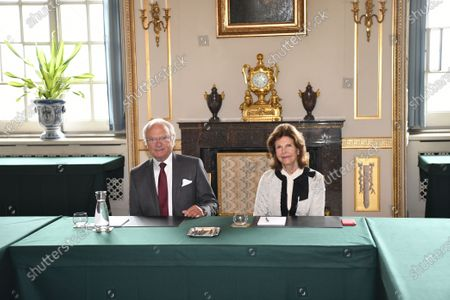 Editorial photo of King Carl Gustaf and Queen Silvia meet with the Nobel Foundation's chairman and executive director, Royal Palace, Stockholm, Sweden - 02 Sep 2020