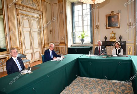 Editorial picture of King Carl Gustaf and Queen Silvia meet with the Nobel Foundation's chairman and executive director, Royal Palace, Stockholm, Sweden - 02 Sep 2020