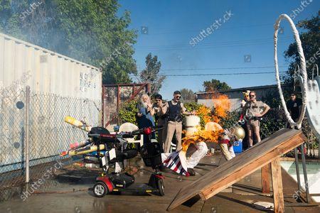 Stock Photo of Kerri Kenney-Silver as Deputy Trudy Wiegel, Robert Ben Garant as Deputy Travis Junior and Thomas Lennon as Lieutenant Jim Dangle