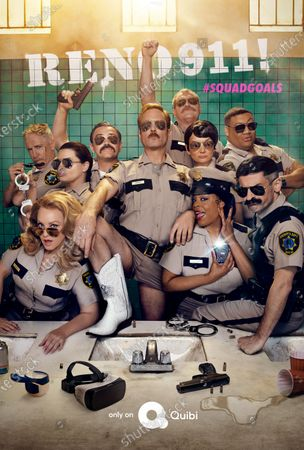 Reno 911! (2020) Poster Art. Back row, Carlos Alazraqui as Deputy James Garcia, Mary Birdsong as Deputy Cherisha Kimball, Joe Lo Truglio as Deputy Frank Rizzo, Ian Roberts as Sergeant Jack Declan, Kerri Kenney-Silver as Deputy Trudy Wiegel and Cedric Yarbrough as Deputy S. Jones. Front row, Wendi McLendon-Covey as Deputy Clementine Johnson, Thomas Lennon as Lieutenant Jim Dangle, Niecy Nash as Deputy Raineesha Williams and Robert Ben Garant as Deputy Travis Junior