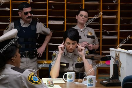 Stock Image of Niecy Nash as Deputy Raineesha Williams, Robert Ben Garant as Deputy Travis Junior, Kerri Kenney-Silver as Deputy Trudy Wiegel and Mary Birdsong as Deputy Cherisha Kimball