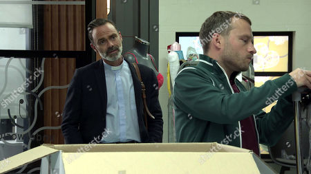 Coronation Street - Ep 10118 Wednesday 16th September 2020 - 2nd Ep When Billy Mayhew, as played by Daniel Brocklebank, tentatively asks Paul Forman, as played by Peter Ash, what makes him think Kel has been murdered and if he had anything to do with it, Paul becomes angry and defensive.
