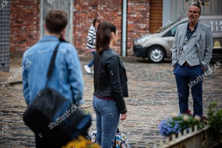 Coronation Street - Ep 10115 Monday 14th September 2020 - 1st Ep Ray Crosby, as played by Mark Frost, tells David Platt, as played by Jack P Shepherd, and Shona Platt, as played by Julia Goulding, they're welcome to stay at his hotel for as long as they need and he's happy to recommend a builder.