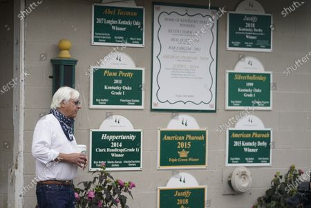 Trainer Bob Baffert stands outside of his stables at Churchill Downs, in Louisville, Ky. The 146th running of the Kentucky Derby is scheduled for Saturday, Sept. 5