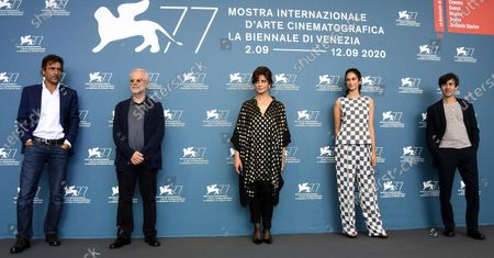 Adriano Giannini, filmmaker Daniele Luchetti, actors Laura Morante, Linda Caridi and Luigi Lo Cascio pose at a photocall for 'Lacci' during the 77th annual Venice International Film Festival, in Venice, Italy, 02 September 2020. The event is the first major in-person film fest to be held in the wake of the Covid-19 coronavirus pandemic. Attendees have to follow strict safety measures like mandatory face masks indoors, temperature scanners, and socially distanced screenings to reduce the risk of infection. The public is barred from the red carpet, and big stars are expected to be largely absent this year. The 77th edition of the festival runs from 02 to 12 September 2020.