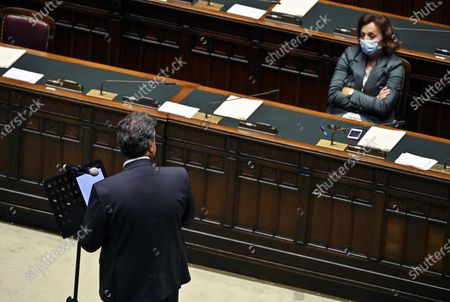 Emanuele Fiano (L), deputy of Democratic Party, and Sandra Zampa (R), undersecretary at Ministry of Health, during the vote of confidence on the covid19 emergency extension decree at the Chamber of Deputies, Rome, Italy, 020 September 2020.