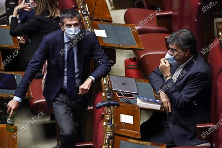 Maurizio Lupi (L), deputy of Noi con l'Italia-Usei-Cambiamo!-Alleanza di Centro, and Emanuele Fiano (R), deputy of Democratic Party, during the vote of confidence on the Covid emergency extension decree at the Chamber of Deputies, Rome, Italy, 02 September 2020.