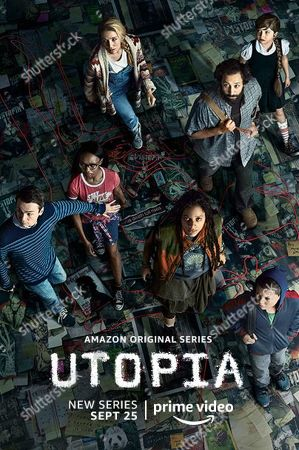 Stock Image of Utopia (2020) Poster Art. Dan Byrd as Ian, Ashleigh LaThrop as Becky, Jessica Rothe as Samantha, Sasha Lane as Jessica Hyde, Desmin Borges as Wilson Wilson, Farrah Mackenzie as Alice and Javon 'Wanna' Walton as Grant