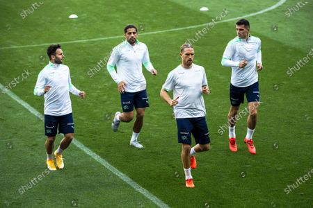 Swiss players (L-R) Renato Steffen, Ricardo Rodriguez, Michael Lang, and Granit Xhaka attend their team's training session at the Lviv Arena stadium in Lviv, Ukraine, 02 September 2020. Switzerland will face Ukraine in their UEFA Nations League soccer match on 03 September 2020.