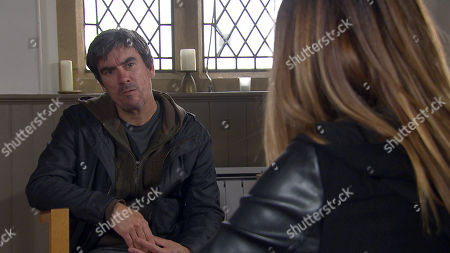 Emmerdale - Ep 8833 Wednesday 9th September 2020 Cain Dingle, as played by Jeff Hordley, finds returned Harriet Finch, as played by Katherine Dow Blyton, sobbing will she confess all to her old flame?