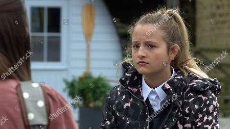 Stock Picture of Emmerdale - Ep 8837 Wednesday 16th September 2020 Sarah Sugden, as played by Katie Hill, attempts to cheer Amelia Spencer, as played by Daisy Campbell, up by suggesting that they bunk off tomorrow and use Al's credit card to pay for some retail therapy.