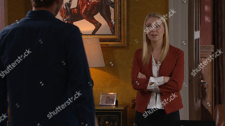 Emmerdale - Ep 8834 Friday 11th September 2020 Belle Dingle's, as played by Eden Taylor-Draper, shocked when Jamie Tate, as played by Alexander Lincoln. tells her he wants to push ahead with divorcing Andrea Tate. Whilst they're discussing this, Andrea arrives home.