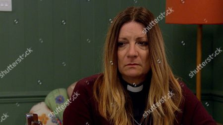 Emmerdale - Ep 8835 Monday 14th September 2020 Harriet Finch, as played by Katherine Dow Blyton, tells Dawn Taylor that she's done with her job as the town vicar.