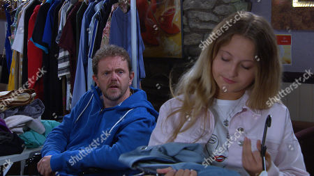 Emmerdale - Ep 8835 Monday 14th September 2020 Dan Specner's, as played by Liam Fox, grateful when Nicola King tells Amelia Spencer, as played by Daisy Campbell, she can take some clothes from the clothes swap for free.