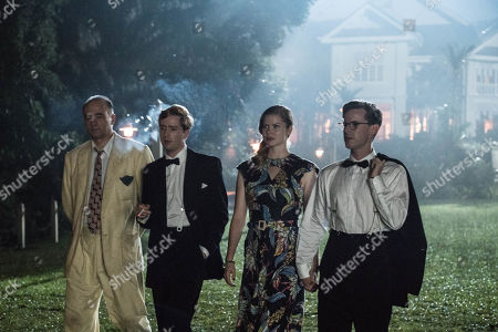 Stock Photo of L-R: Christophe Guybet as Francois Dupigny, Luke Newberry as Monty, Georgia Blizzard as Joan and Luke Treadaway as Matthew Webb.