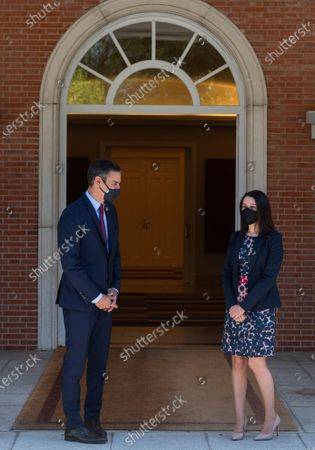 Spanish Prime Minister, Pedro Sanchez (L), welcomes Ciudadanos Party's leader, Ines Arrimadas, prior their meeting at the Moncloa Palace in Madrid, Spain, 02 September 2020. Sanchez started a round of negotiations with political parties to gain support for the approval of the next general budget.