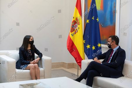 Spanish Prime Minister, Pedro Sanchez (R), speaks with Ciudadanos Party's leader, Ines Arrimadas, during their meeting at the Moncloa Palace in Madrid, Spain, 02 September 2020. Sanchez started a round of negotiations with political parties to gain support for the approval of the next general budget.