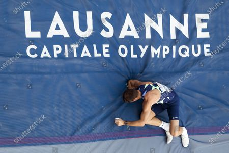 Renaud Lavillenie of France in action during the pole vault city event of the Athletissima IAAF Diamond League international athletics meeting, in Lausanne, Switzerland, Wednesday, September 2, 2020. Due to the pandemic of the coronavirus disease (COVID-19), this year's Athletissima meeting organize only the so-called 'City Event', an edition of Athletissima reserved exclusively for pole vault organised in the city centre and in front of 1000 spectators.