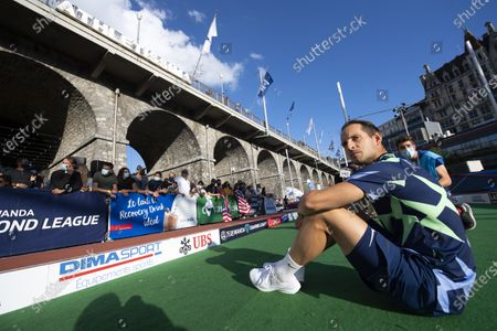 Renaud Lavillenie of France looks on during the men's pole vault city event of the Athletissima IAAF Diamond League international athletics meeting, in Lausanne, Switzerland, Wednesday, September 2, 2020. Due to the pandemic of the coronavirus disease (COVID-19), this year's Athletissima meeting organize only the so-called 'City Event', an edition of Athletissima reserved exclusively for pole vault organised in the city centre and in front of 1000 spectators.